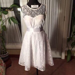 Full lace short beach informal wedding gown.